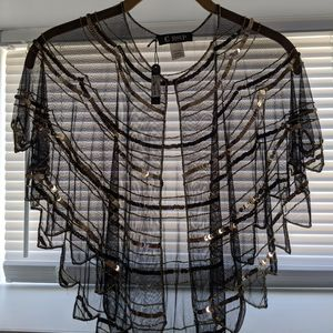Sheer black and gold shrug cape scarf NWT